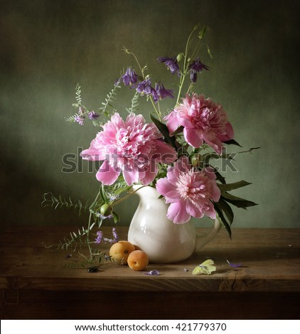 Still life with pink peonies and a butterfly (textured for artistic effect) - stock photo