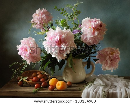 Still life with pink peonies and apricots - stock photo