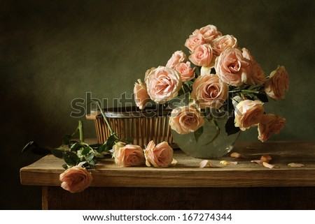Still life with pink roses - stock photo