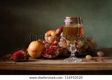 Still life with pomegranate - stock photo