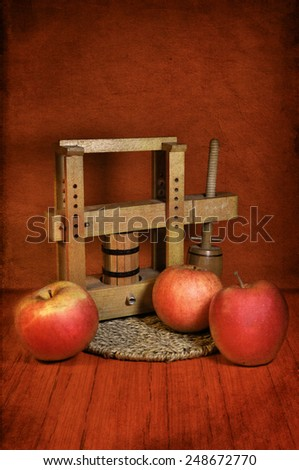 Still life with red apples - stock photo