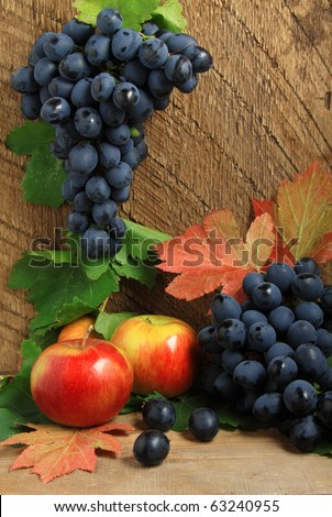 Still life with ripe apples, autumn leaves and bunch of grapes - stock photo
