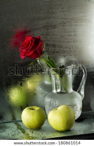 still life with rose and apples on the background of the misted window - stock photo