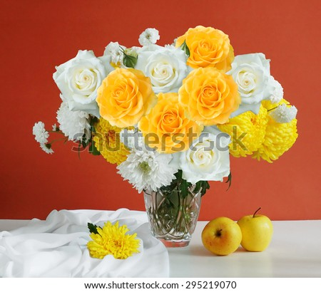 Still life with roses and aster flowers and fruits on artistic background - stock photo