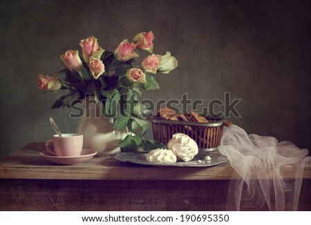 Still life with roses and drapery - stock photo