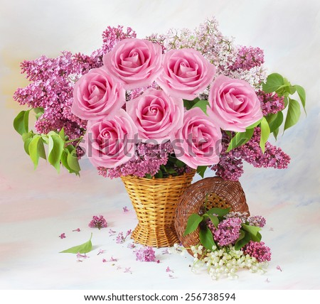 Still life with roses and lilac flowers on artistic background - stock photo