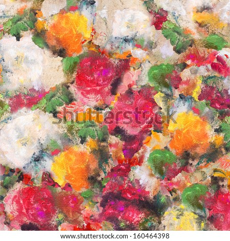 Still life with roses, wallpaper, background painting - stock photo