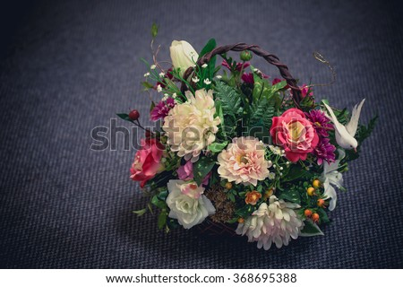 still life with Rustic bouquet. picture vintage tone.