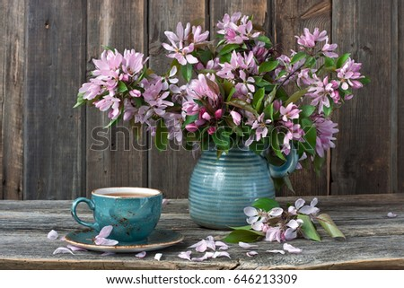 Still Life With Spring Apple Flowers On Rustic Background