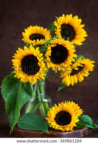Still life with sunflowers - stock photo