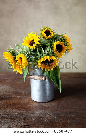 Still Life with Sunflowers in old Milk Can