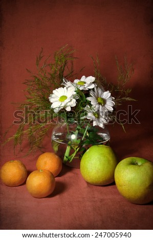 Still life with tangerines and apples - stock photo