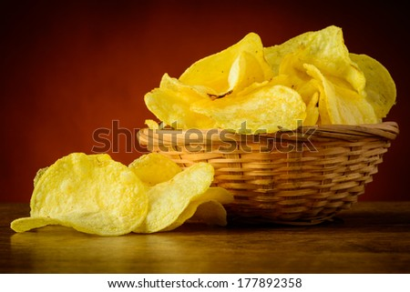 still life with tasty traditional potato chips snacks