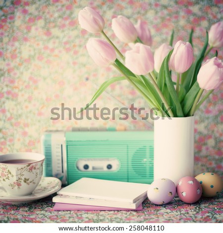 Still life with tulips and easter eggs  - stock photo