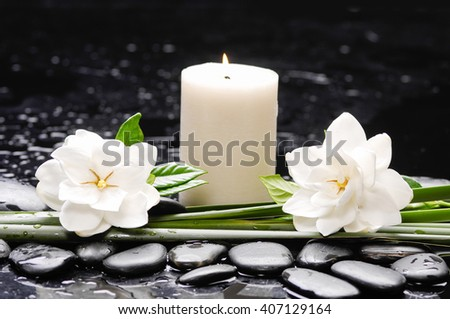 Still life with two gardenia with candleon therapy stones - stock photo