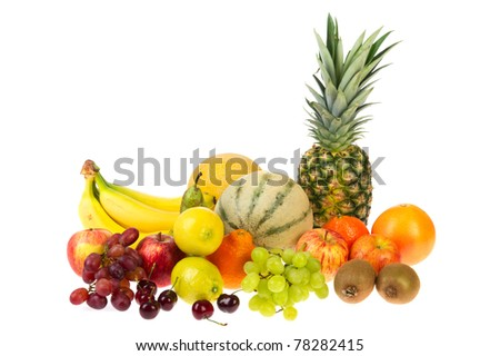 Still life with various kinds of fresh fruit