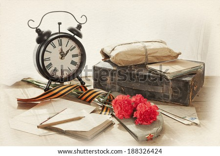 Still life with vintage objects dedicated to Victory Day  - stock photo
