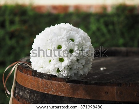 still life with wedding bouquet - stock photo