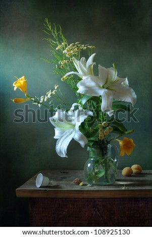 Still life with white lilies - stock photo