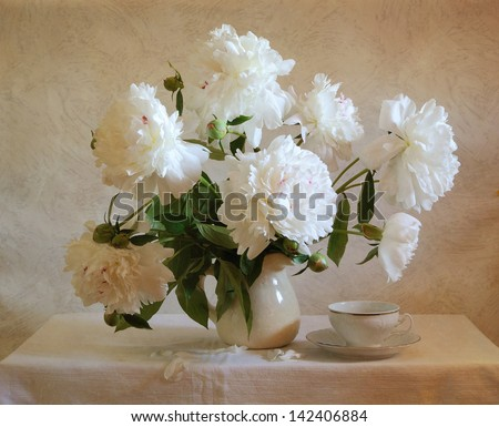 Still life with white peonies - stock photo
