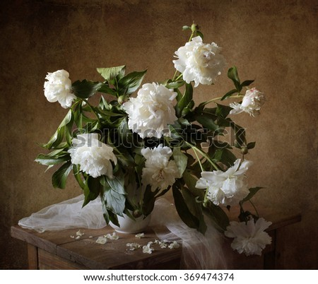 Still life with white peonies (textured for artistic effect)  - stock photo