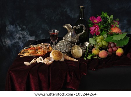 Still life with wine, crayfishes, fruits and flowers - stock photo