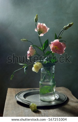 Still life with with beautiful flowers - stock photo