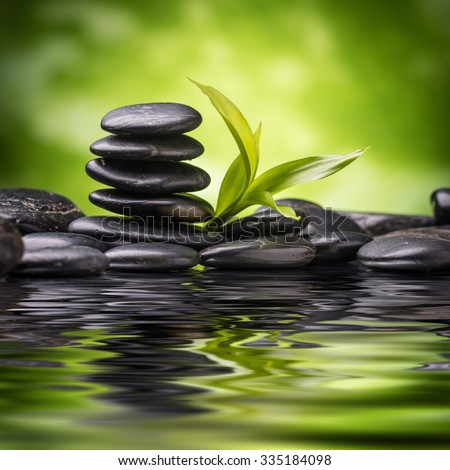 still life with zen basalt stones and bamboo  - stock photo