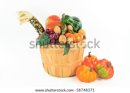 Still picture of Pumpkin, corn and grape in a bushel basket Traditional symbols of Thanksgiving Day and Fall  - horizontal orientation, over white.