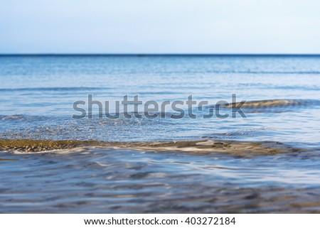Still sky over gulf of Riga, Baltic sea. - stock photo