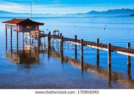 Stilt hut in a lake, Carnelian Bay, Lake Tahoe, California, USA - stock photo
