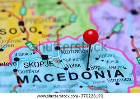 Stip pinned on a map of Macedonia  - stock photo