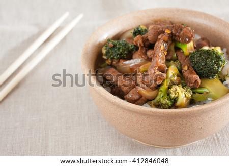 Stir-Fried Beef and Broccoli - stock photo