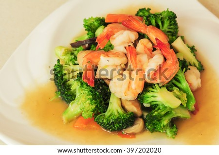 stir fried broccoli with shrimp - stock photo