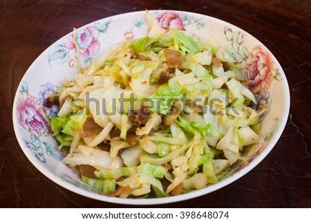 Stir Fried Cabbage with Pork Stock Photo - stock photo
