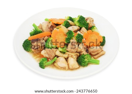 stir fried chicken with broccoli and carrot on plate isolated white background - stock photo