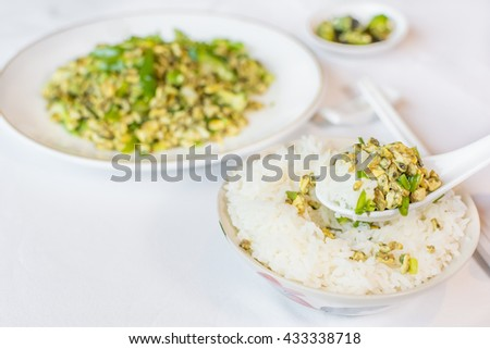 Stir fried clams with roasted chili the delicious Thai food.  The scientifically mean shellfish snapper, horse mussel, musculus senhousia, a small variety of sea mussel, genus mytilus, - stock photo