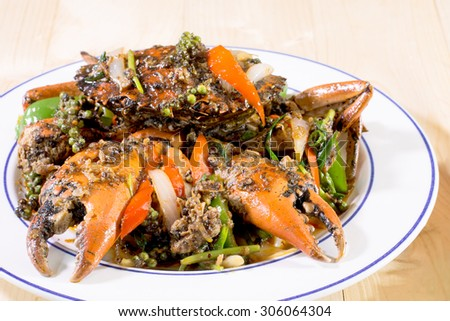 Stir fried crab with black pepper, sea food - stock photo