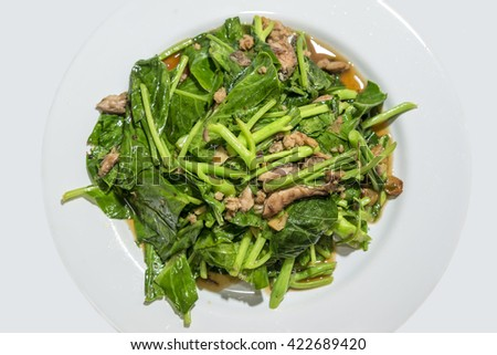 Stir Fried kale and vegetables in oyster sauce delicious Thai food.