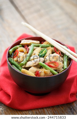 stir fried minced chicken with vegetables, Thai food
