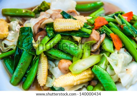 stir-fried mixed vegetables - stock photo