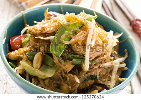 stir-fried noodles with vegetables - stock photo