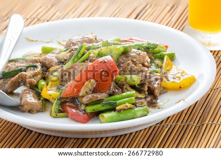 Stir-fried Ostrich with black pepper