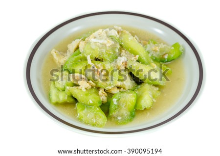 Stir Fried Bitter Gourd With Egg Stock Photo - Image: 59562916