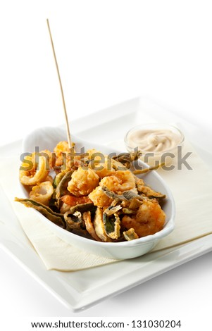 Stir Fried Seafood with White Sauce - stock photo