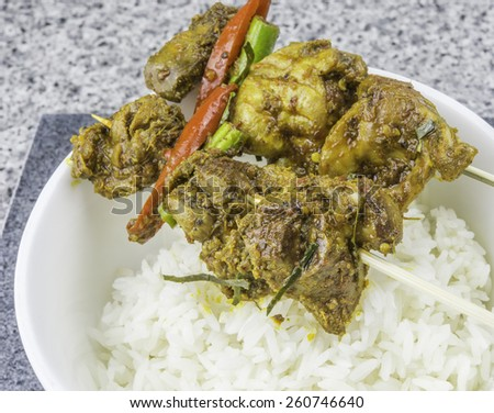 Stir fried spicy chicken liver which curry sauce - stock photo