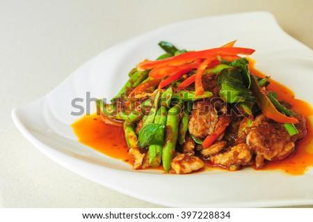 stir fried spicy pork - stock photo