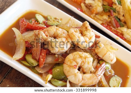 Stir-fried Stink Bean with Prawn, Asian Food - stock photo