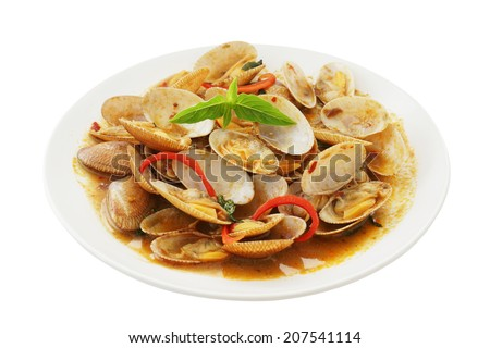 stir fried surf clams with roasted chili paste on plate isolated white background