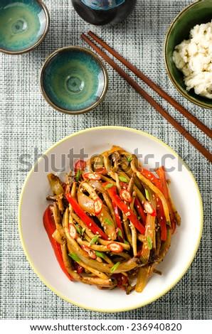 Stir Fried Tea Tree Mushroom with Chili Pepper - stock photo